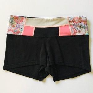 Lululemon Pink and Black Floral Reversible Shorts